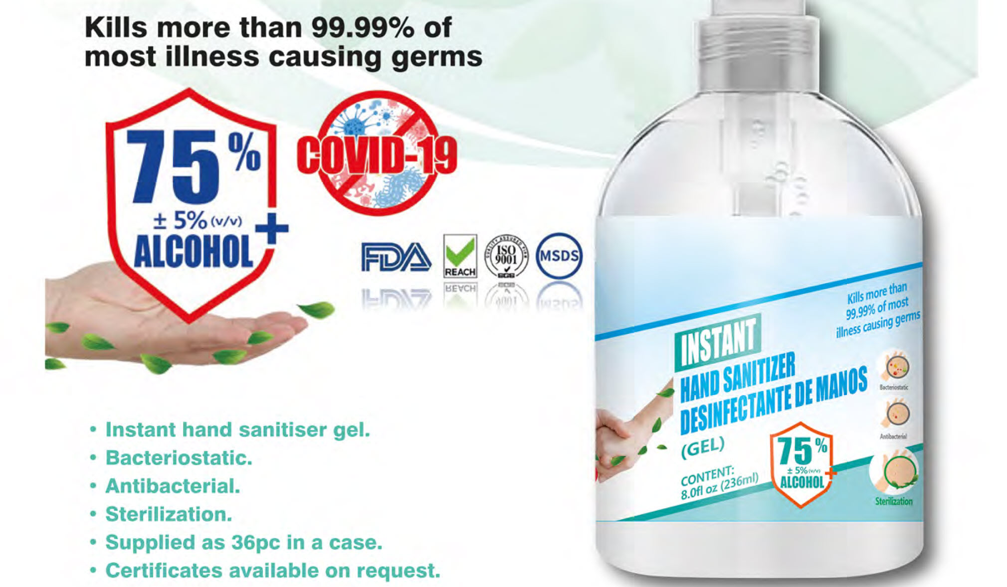 236ml Antibacterial Alcohol Hand Sanitiser Gel Pump Bottle